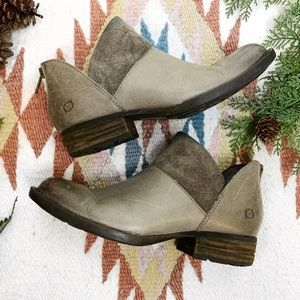 Born Karava Taupe Grey Combo Leather Suede Booties